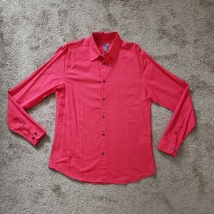 H&M Men's Dress Casual Red Button Down Fitted M